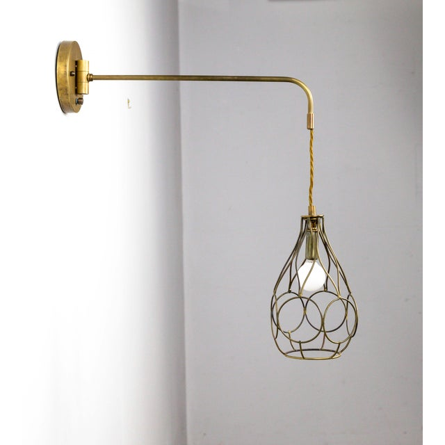Contemporary Contemporary Long Arm Hanging Brass Cage Sconce With Circle Motif For Sale - Image 3 of 12