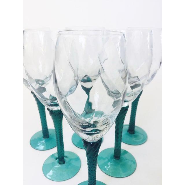 Vintage Green Stemmed Champagne Glasses - Set of 6 For Sale - Image 4 of 5