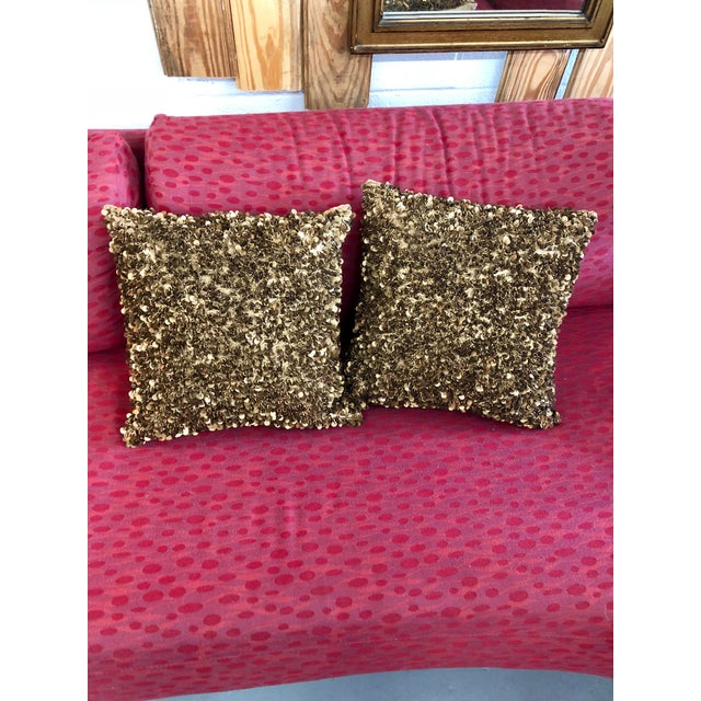 Contemporary Bougainvillea Brown and Copper Sequin Pillows - a Pair For Sale - Image 4 of 6
