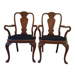 Late 1800s Queen Anne Hand Carved Walnut Arm Chairs - a Pair For Sale