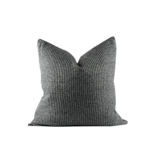 """Charcoal Gray Texture Wool Pillow 24"""" x 24"""" For Sale"""
