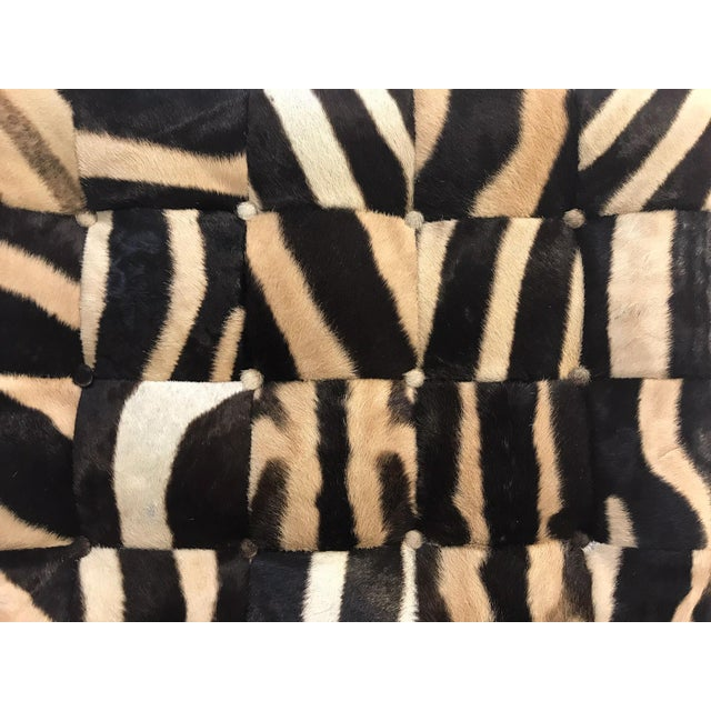 Vintage Barcelona Style Patchwork Zebra Hide Chairs - A Pair For Sale In Saint Louis - Image 6 of 7