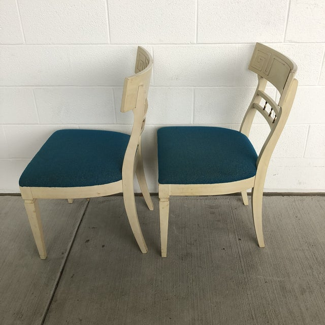 1960s 1960s Vintage Klismos Style Greek Key Dining Chairs- A Pair For Sale - Image 5 of 11