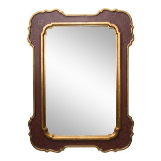 Unique Gilt and Cordovan Painted Mirror, 20th Century For Sale