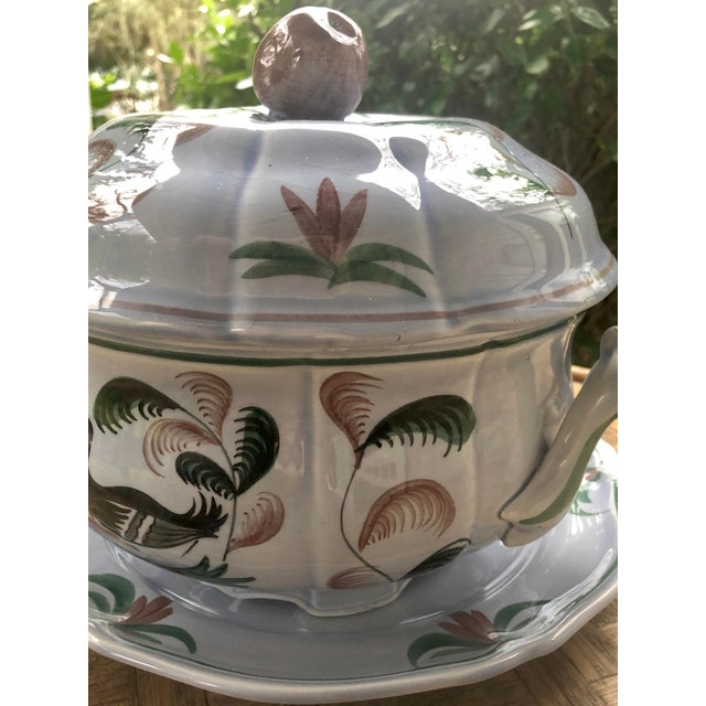"""Mid 20th Century Longchamp """"Blue Duck"""" French Faience Majolica Soup Tureen For Sale - Image 10 of 13"""
