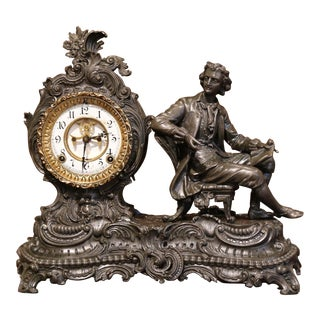 19th Century Patinated Spelter Mantel Clock Statue by Ansonia Clock Company For Sale