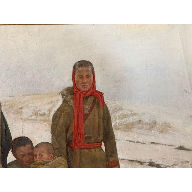 1990s 1990s Maquan Mongol Family Original Oil Painting For Sale - Image 5 of 9