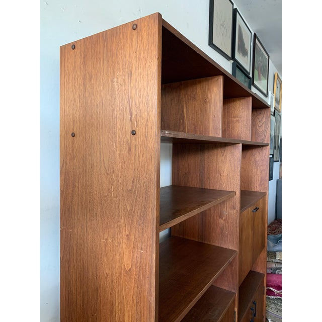 Wood Mid-Century Walnut Shelving Unit with Desk For Sale - Image 7 of 9