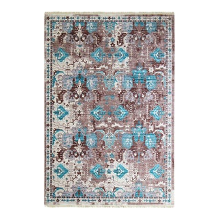 Transitional Brown & Green Rug - 5′3″ × 7′7″