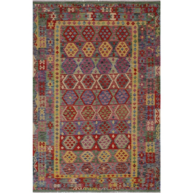 Purple Bohemian Tressa Pink/Blue Hand-Woven Kilim Wool Rug - 6'10 X 9'9 For Sale - Image 8 of 8
