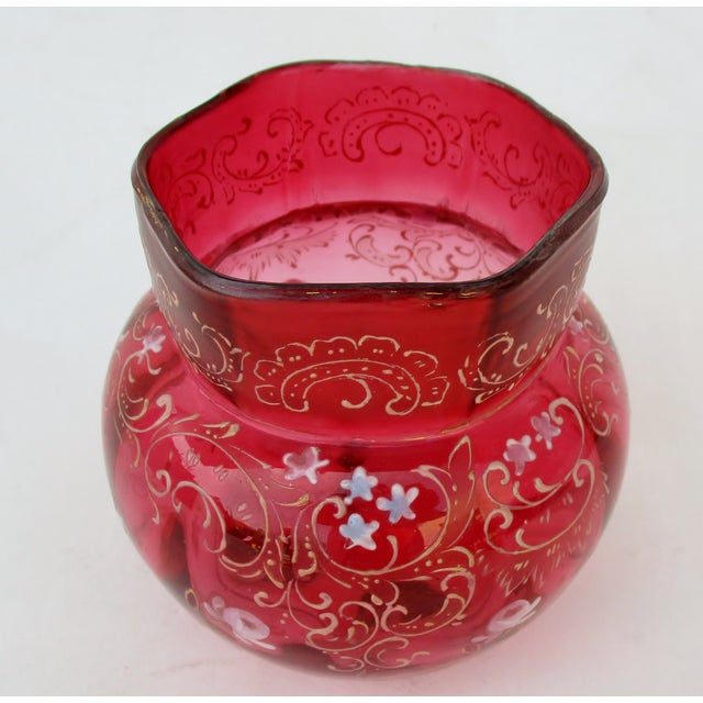 1900s Cranberry Glass Vase For Sale - Image 4 of 8