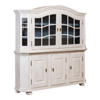 19th Century Country White Painted Glass Cabinet For Sale
