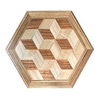 Mid-Century Modern Geometric Op Art Marquetry Panel Tray For Sale