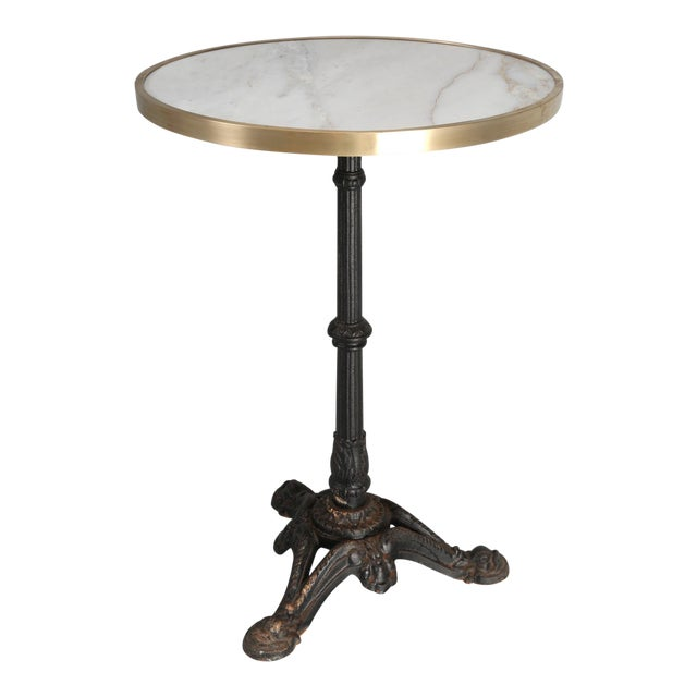 Marble Bistro Accent Table: French Bistro Table With A Marble Top And Brass Edging