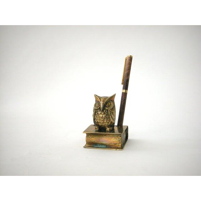 Vintage Brass Owl Pen Holder - Image 8 of 8