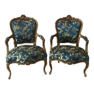 Blue Damak French Louis XVI Chairs - A Pair