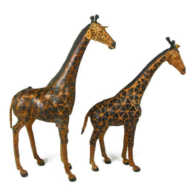 Pair of Leather Giraffe Models - Image 3 of 4