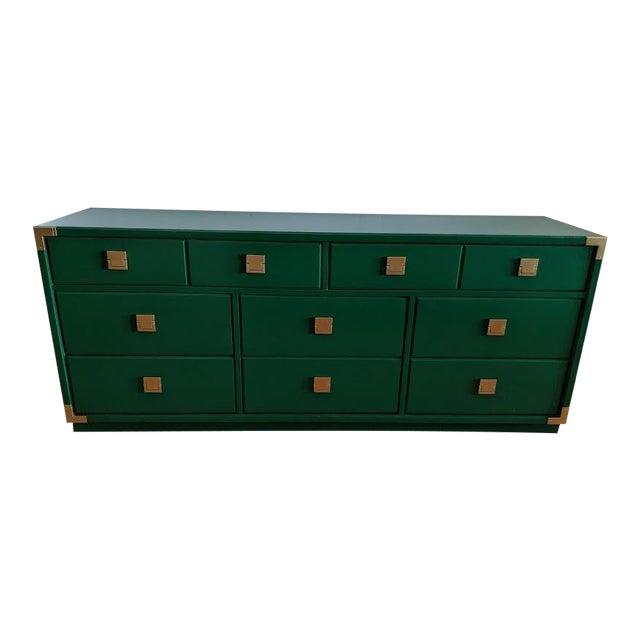 1970s Thomasville Campaign Gloss Green Dresser Credenza For Sale