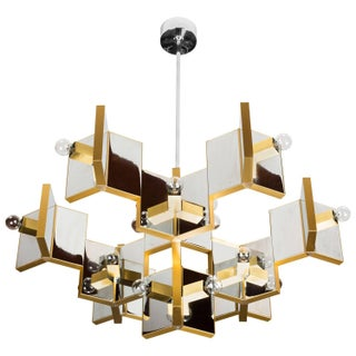 Brass and Chrome Chandelier by Gaetano Sciolari