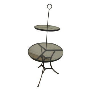 Vintage 2 Tier Wrought Iron & Glass Display Table For Sale