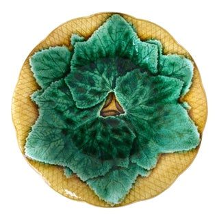 French Majolica Leaves Plates Gien, circa 1880 For Sale