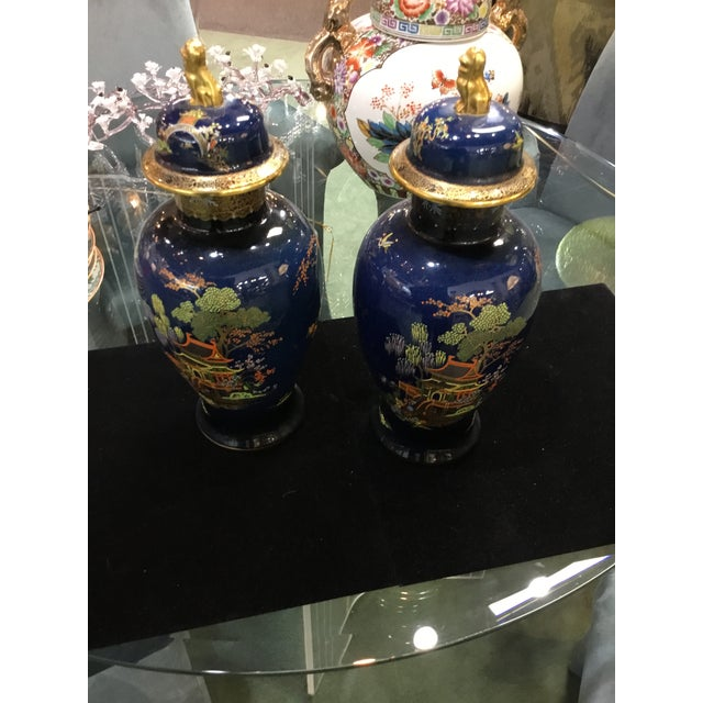 Asian Antique Carleton Ware Urns With Foo Dog Finials - A Pair For Sale - Image 3 of 7