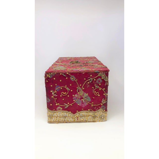 Vintage Red Embroidered Indian Fabric Box For Sale - Image 4 of 5