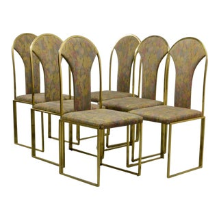 Set of Six Luxurious Mid-Century Design Brass Dining Chairs by Belgo Chrome, 1970s