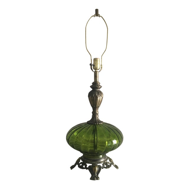 Hollywood Regency Emerald Green & Gold Glass Lamp - Image 1 of 7