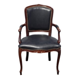 Vintage French Provincial Louis XV Style Black Accent Chair Made in Italy For Sale
