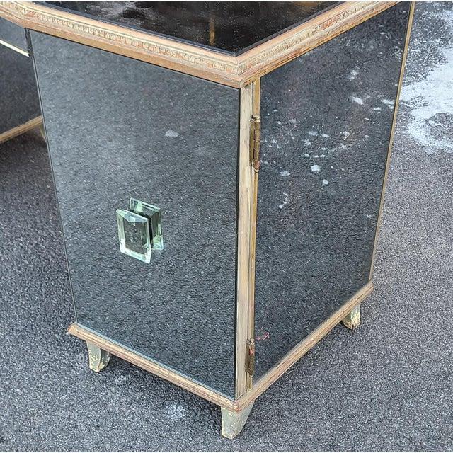 Art Deco Antique Robert W. Irwin Art-Deco Mirrored Vanity Desk C1930 For Sale - Image 3 of 11