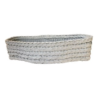 Vintage Woven Wicker White Plant Box For Sale