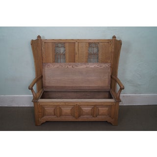 Jonathan Charles Tudor Oak Gothic Style Settee or Bench Preview
