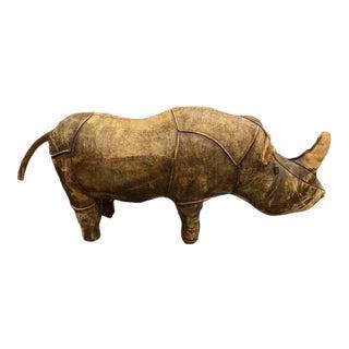 Vintage Mid Century Dmitri Omersa Leather Rhino Footstool For Sale