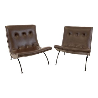 Mid Century Modern Milo Baughman Scoop Lounge Chairs- A Pair For Sale