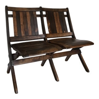 1930s Vintage Heywood Wakefield Double Stadium Chair Bench For Sale
