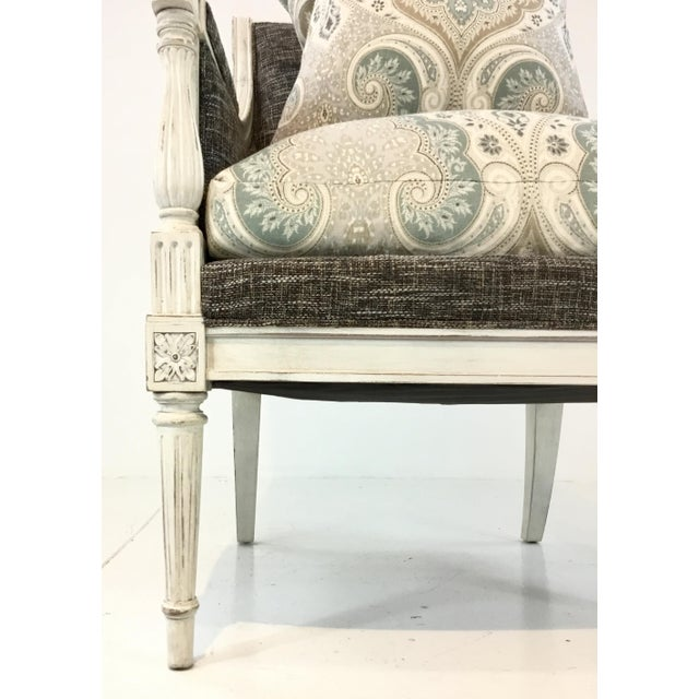 Elegant transitional Hickory Chair French Inspired Lucien Chair, white washed wood frame with fluted legs, two fabrics,...