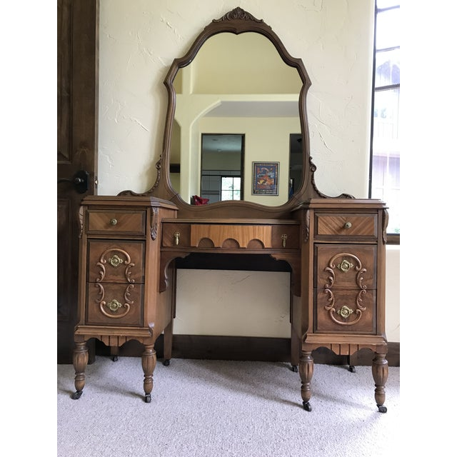 Antique Mirrored Dressing Table With Burled and Zebra Woods For Sale - Image 9 of 9