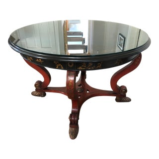 1950s Asian Red and Black Center Table For Sale