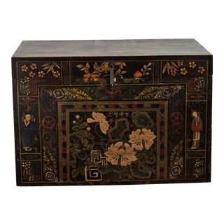 Antique Chinese Painted Marriage Chest For Sale