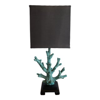 Vintage Aqua Colored Coral Table Lamp For Sale