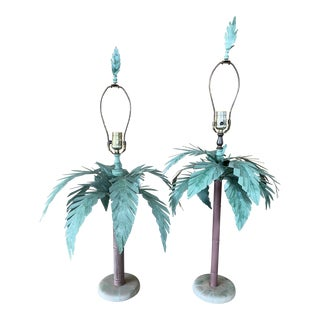 Vintage Tole Metal Painted Palm Tree Lamps - a Pair For Sale