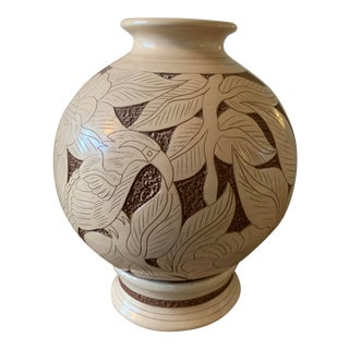 Vintage Mid 20th Century Carved Vase With Separate Base For Sale