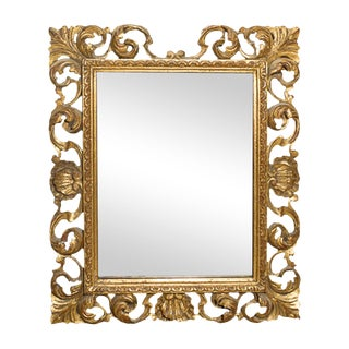 1920s Vintage Italian Carved Gilt Wood Rococo Style Mirror For Sale
