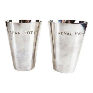 Vintage Silver Royal Hawaiian Hotels Mint Julep Cups - a Pair For Sale