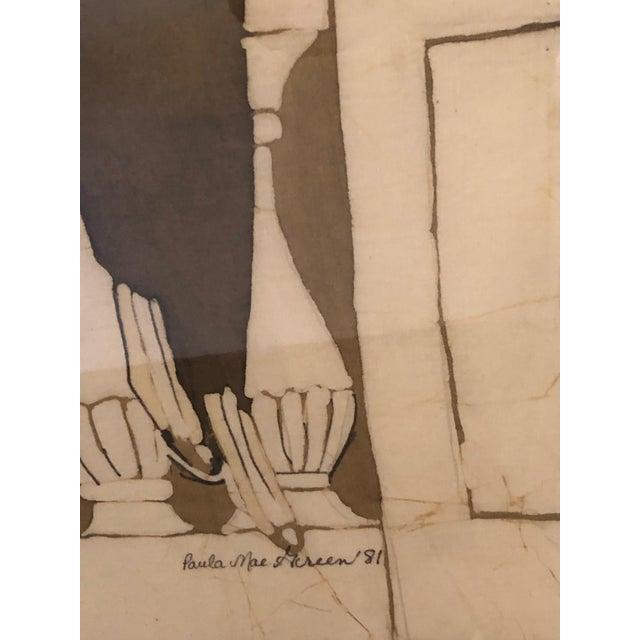 1980s Art Nouveau Batik of Lovers, Framed For Sale - Image 4 of 9
