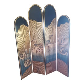 1980's Lacquer Screen Deco Revival For Sale
