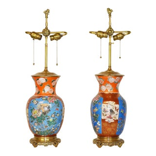 Pair of 19th Century Japanese Porcelain Lamps For Sale