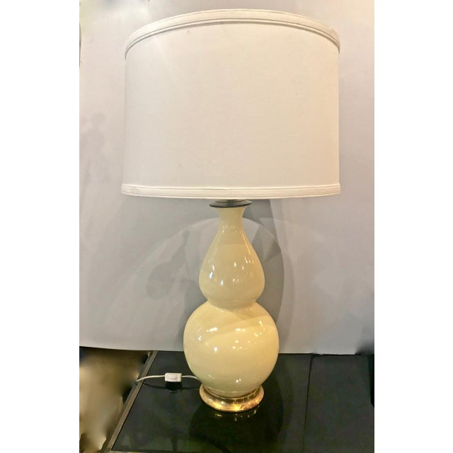 Yellow Early Christopher Spitzmiller Lamp, Signed 2002 With Shade For Sale - Image 8 of 8