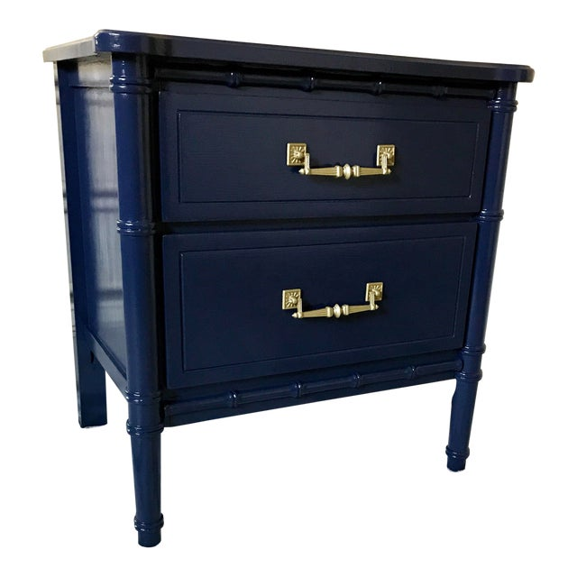 Vintage Mid-Century Henry Link Style Navy Blue Faux Bamboo Nightstand For Sale